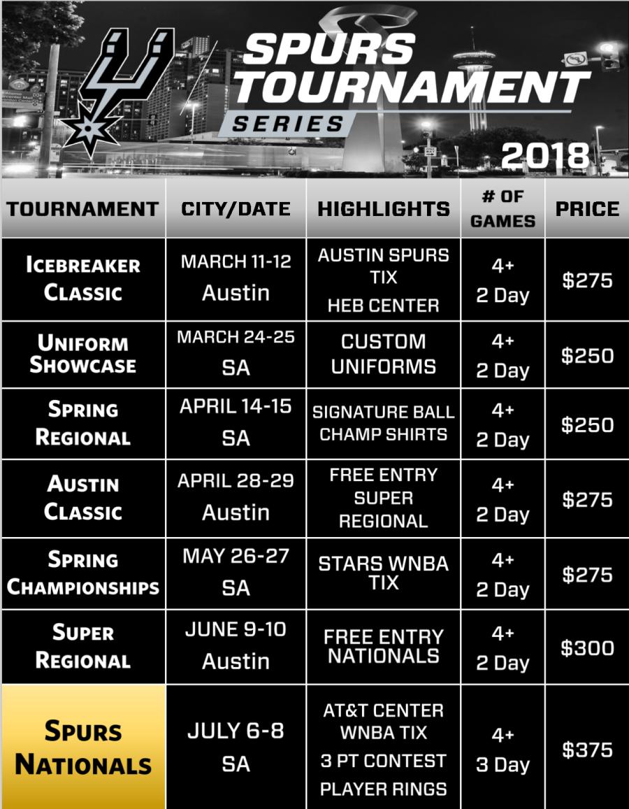 Spurs 2018 Tournament Calendar